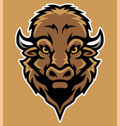 Bison head mascot in cartoon style vector