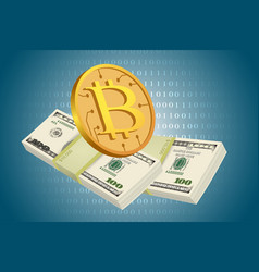 bitcoin and usd dollars vector image