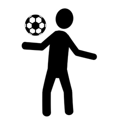 black avatar man playing with soccer ball vector image