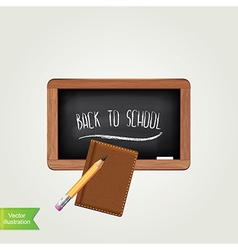 Black chalkboard with pencil isolated vector image