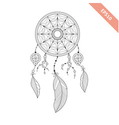 Black line dream catcher isolated on white vector
