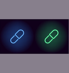 blue and green neon medicine pill vector image
