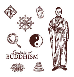 Buddhism religion symbols and sketch signs vector