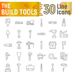 build tools thin line icon set construction signs vector image