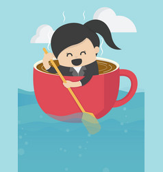 businesswoman is rowing like coffee cup in the vector image