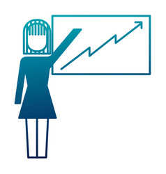 businesswoman pointing presentation board success vector image