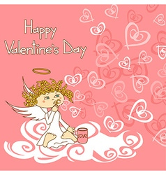 Card for Valentines Day with cupid and soap vector image