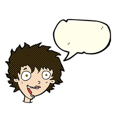 Cartoon crazy excited woman with speech bubble vector