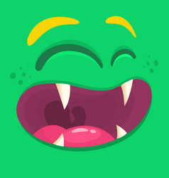 Cartoon happy monster face halloween vector