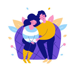 Cartoon lovers on couch couple flat vector