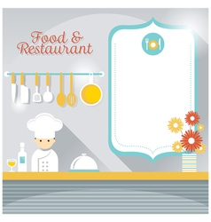 Chef at Restaurant Counter with Blank Sign vector image