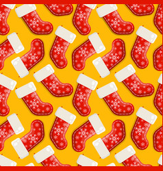 christmas red socks pattern background vector image