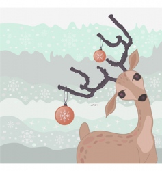Christmas reindeer card vector image