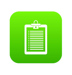 clipboard with check list icon digital green vector image