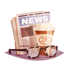 Coffee with a newspaper and glasses vector
