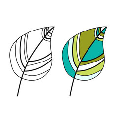 colored leaf black and white for vector image
