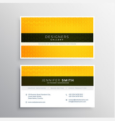 Company business card design with yellow wavy vector