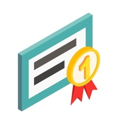 computer number one isometric 3d icon vector image