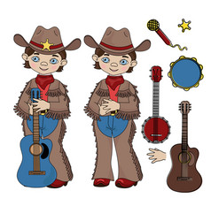 Cowboy music western country festival illus vector