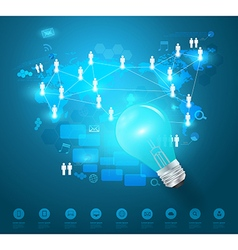 Creative light bulb idea with technology network vector image