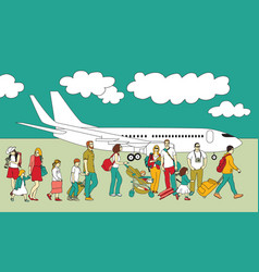 crowd travel walking people family plane and sky vector image