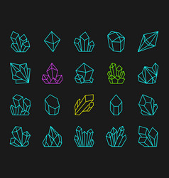 crystal simple color line icons set vector image