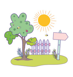 cute arrow guide wooden with fence scene vector image