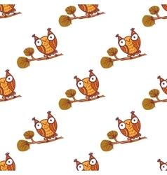 Cute little owls Seamless pattern vector image
