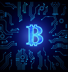 digital money luminescent symbol bitcoin vector image