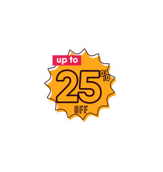 Discount up to 25 off label template design vector
