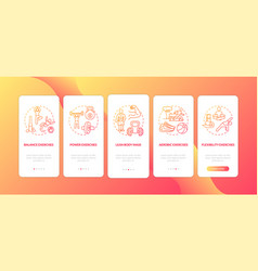 Exercises red onboarding mobile app page screen vector