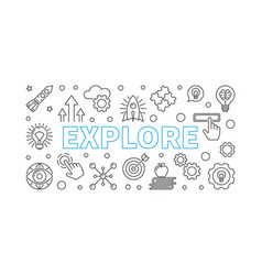 explore horizontal banner in thin line vector image