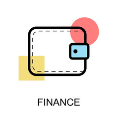 finance icon and wallet on white background vector image