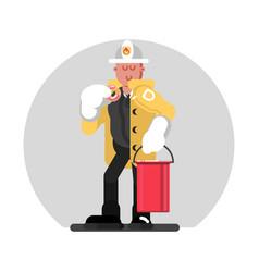 fireman standing with bucket vector image