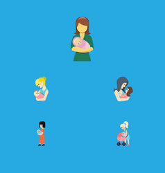 Flat icon mother set of parent baby woman and vector