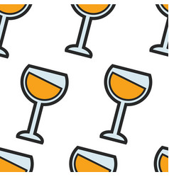 french white wine seamless pattern glassware and vector image