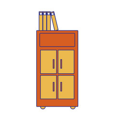 Full color archive cabinet file with books vector