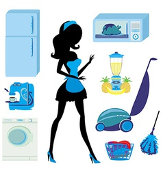 furniture in the kitchen and cleaning - set vector image