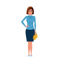 girl teacher character stands with bag in hand vector image