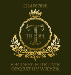 golden patterned letters and numbers with monogram vector image