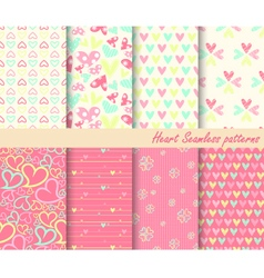 Heart Retro different seamless patterns vector image