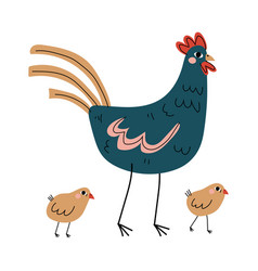 hen and chickens agriculture poultry breeding at vector image
