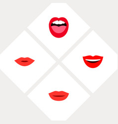 Icon flat mouth set of lips laugh kiss and other vector