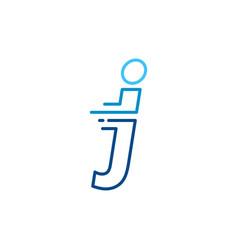 J letter dash lowercase tech digital fast quick vector