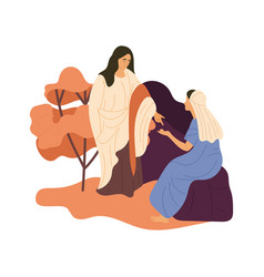 Jesus speaking to a woman vector