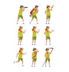 kids scouts children specific uniform camping vector image