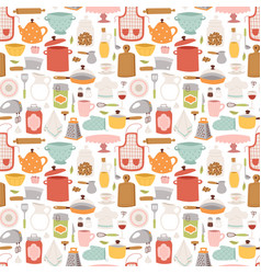 kitchen set icon seamless pattern vector image