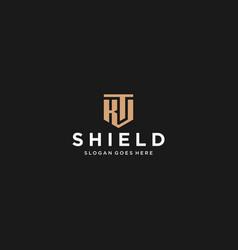 kt or ks letter shield icon vector image