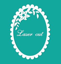 Laser cut flower ornament blue vector