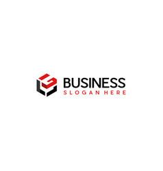 letter lg cube hexagon modern business logo vector image
